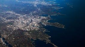 Amerika sikt från flygplanet på New York City arkivbilder