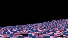 Amerika sjunker och kameraflugan över, DOF, materiellängd i fot räknat stock illustrationer