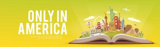 Amerika som löper Öppna boken med gränsmärken Royaltyfri Foto