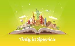Amerika som löper Öppna boken med gränsmärken Royaltyfria Foton