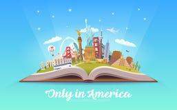 Amerika som löper Öppna boken med gränsmärken Royaltyfri Fotografi