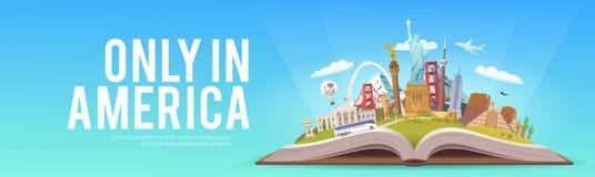 Amerika som löper Öppna boken med gränsmärken Arkivbild