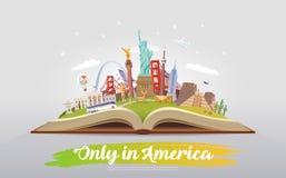 Amerika som löper Öppna boken med gränsmärken Arkivfoto