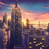 Amerika USA, New York, realistiskt landsstadsområde som målar serie stock illustrationer