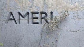 AMERIKA uttrycker FÖRST snidit i stenvägg stock illustrationer
