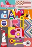 Amerika - vectorontwerp met tekst Stock Afbeeldingen