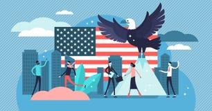 Amerika-Vektorillustration Flaches kleines vereinigt Zustandsland-Personenkonzept lizenzfreie abbildung