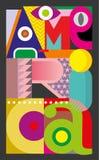 Amerika - vektortextdesign Arkivbild