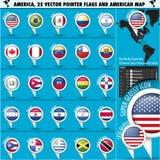 Amerika-Zeiger-Flaggen-Ikonen mit amerikanischer Karte set1 Lizenzfreie Stockbilder