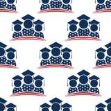 Amerikaan behaalt Naadloze Patroonachtergrond een diploma Stock Afbeelding