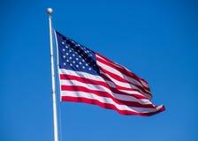 Amerikaan hekelt het vliegen in de wind op duidelijke blauwe dag royalty-vrije stock foto's
