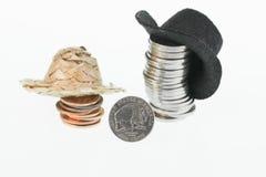 Amerikaans bizonnikkel, strohoed, cowboyhoed en muntstukken Stock Foto's