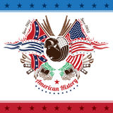 Amerikaans burgeroorlog militair achtergrondkleurenwapenschild met bizon hoofdvlaggen en wapens Stock Foto's