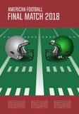 Amerikaans de afficheconcept van de voetbal definitief gelijke Zilveren, groen Roer stock illustratie