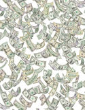 Amerikaans Geld dat onderaan $ regent Royalty-vrije Stock Foto