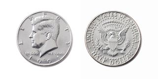 Amerikaans half dollarmuntstuk, Vijftig cent, 50 c, de V.S. 1/2 dollar isol royalty-vrije stock fotografie