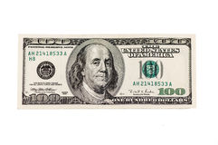 Amerikaans honderd dollarsbankbiljet Stock Afbeeldingen