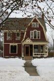 Amerikaans Huis in de Winter Royalty-vrije Stock Foto's