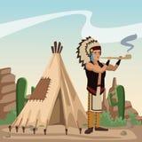 Amerikaans Indisch beeldverhaal in woestijn Royalty-vrije Stock Afbeeldingen