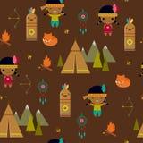 Amerikaans Indisch clipart naadloos behang Stock Foto
