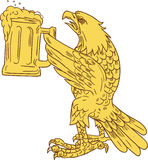 Amerikaans Kaal Eagle Beer Stein Drawing Royalty-vrije Stock Afbeelding