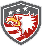 Amerikaans Kaal Eagle Head Flag Shield Retro Royalty-vrije Stock Afbeelding
