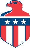 Amerikaans Kaal Eagle Head Flag Shield Retro Stock Fotografie