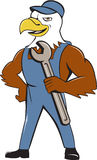 Amerikaans Kaal Eagle Mechanic Spanner Cartoon Royalty-vrije Stock Foto