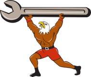 Amerikaans Kaal Eagle Mechanic Spanner Cartoon Stock Foto
