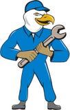 Amerikaans Kaal Eagle Mechanic Spanner Cartoon Stock Fotografie