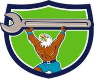 Amerikaans Kaal Eagle Mechanic Spanner Crest Cartoon Stock Afbeelding