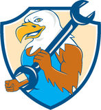 Amerikaans Kaal Eagle Mechanic Wrench Shield Cartoon Royalty-vrije Stock Afbeeldingen