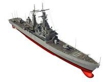 Amerikaans Modern Oorlogsschip over Witte Achtergrond Royalty-vrije Stock Foto's