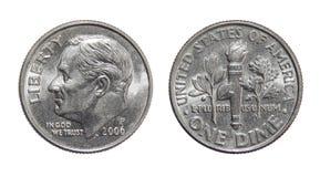 Amerikaans muntstuk 10 centen ÉÉN DIME de V.S. stock afbeelding