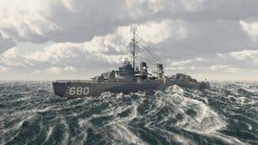Amerikaans oorlogsschip van Wereldoorlog II Stock Foto's