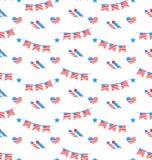 Amerikaans Patriottisch Naadloos Patroon, de Nationale Kleuren van de V.S. Royalty-vrije Stock Foto