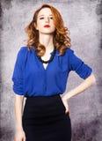 Amerikaans redhead meisje. Stock Foto's