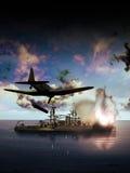 Amerikaans schip onder aanval Royalty-vrije Stock Afbeeldingen