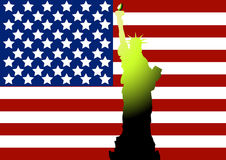 Amerikaans vlag en standbeeld van vrijheid Royalty-vrije Stock Afbeelding