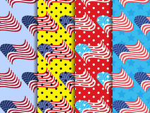Amerikaans vlag naadloos patroon met zwarte punten Pop-art gestippelde achtergrond Vector vector illustratie