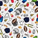 Amerikaans voetbal naadloos patroon allen over Amerikaanse voetbal stock afbeelding