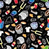 Amerikaans voetbal naadloos patroon allen over Amerikaanse voetbalzwarte royalty-vrije illustratie