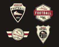 Amerikaans voetbalkenteken met cleats, sportembleem Royalty-vrije Stock Afbeeldingen