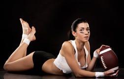 Amerikaans voetbalmeisje Royalty-vrije Stock Afbeeldingen