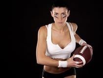 Amerikaans voetbalmeisje Stock Foto
