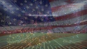 Amerikaans voetbalstadion met vuurwerkanimatie en Amerikaanse vlag op de voorgrond vector illustratie