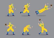 Amerikaans Voetbalster Vectorkarakter - reeks Royalty-vrije Stock Afbeeldingen