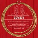 Amerikaanse achtergrond met cowboylaarzen en kabel. Stock Foto