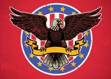 Amerikaanse adelaar uitgespreide vleugels met geweven lint en plattelander vector illustratie