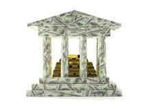 Amerikaanse bank met gouden storting royalty-vrije stock afbeelding